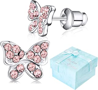 Girls Butterfly Stud Earrings Silver Surgical Stainless Steel