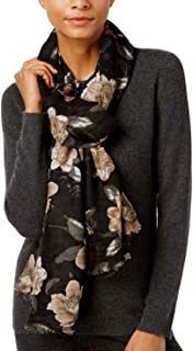 Echo Womens Floral Pleated Wrap & Scarf-in-One One Size Black