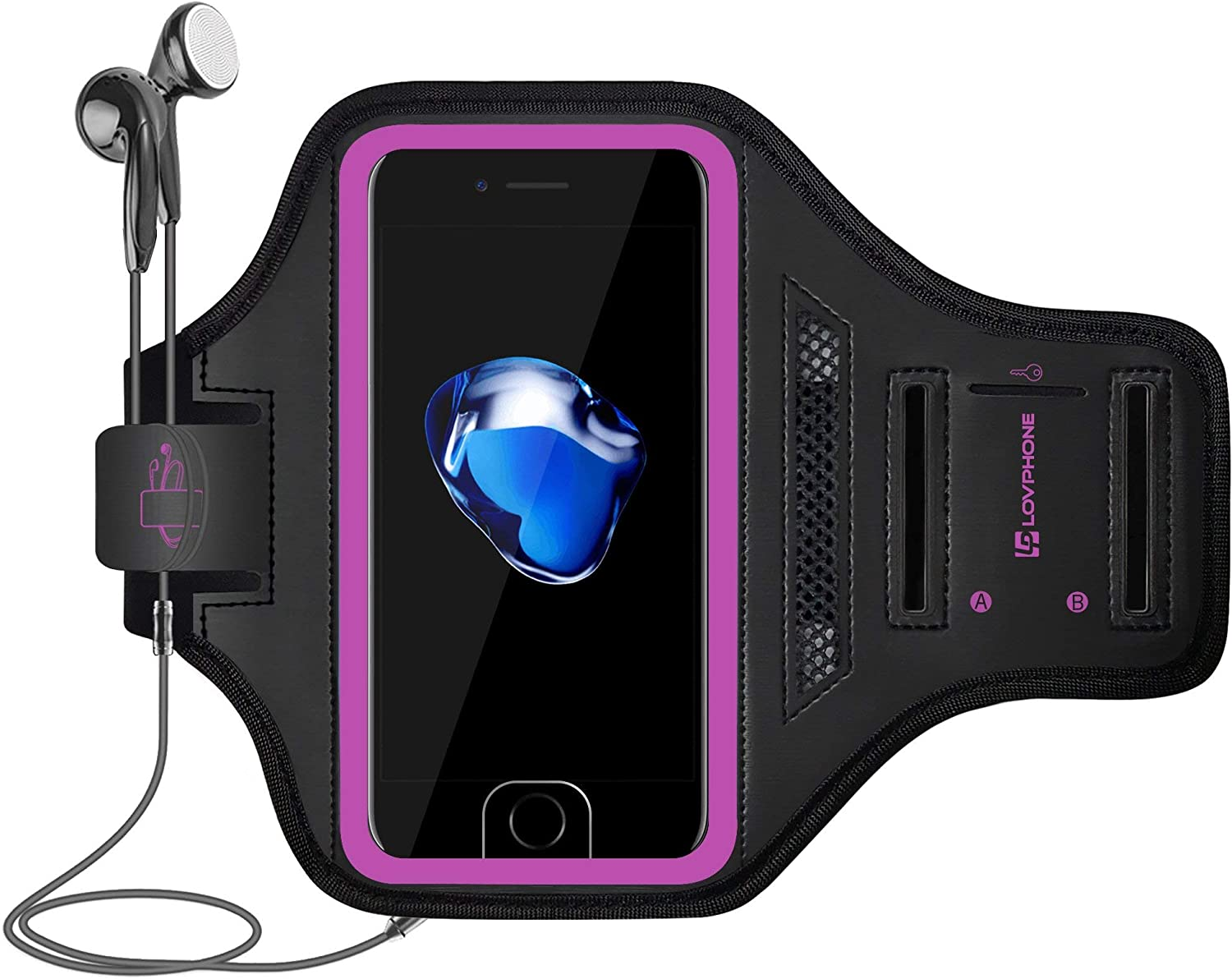 LOVPHONE iPhone 7 Armband/iPhone 8 Armband Sport Running Exercise Gym Sport Armband Case for iPhone 8/iPhone 7/iPhone 6/6s,with Key Holder & Card Slot,Water Resistant