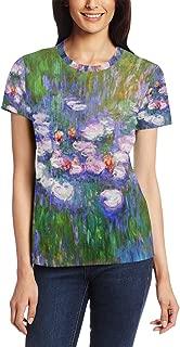 Claude Monet Art Water Lillies Custom Women's Casual Short Sleeve T Shirt Crewneck Tee Tops(XS-3XL)