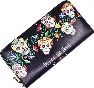 Sugar Skull Wallet for Women Clutch Zipper Credit Card Holder Case Gift Purse