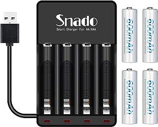Snado 600 mAh Ni-MH AA uppladdningsbara batterier (4-pack) och uppladdningsbar AA AAA batteriladdare