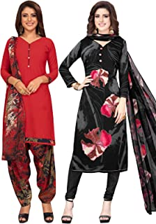 S Salwar Studio Women's Pack of 2 Synthetic Printed Unstitched Dress Material Combo-MONSOON-2866-2888