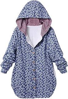 4ec1d0913111b9 Womens Winter Warm Outwear Oversize Coats Floral Print Plaid Hooded Pockets