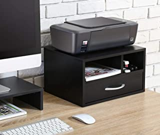 $40 » SSLine Wood Printer Stands with Storage, Workspace Desk Organizers for Home & Office,Fax Stands Desktop Organizers (,2-Shelf,3 Grids,with Drawer)