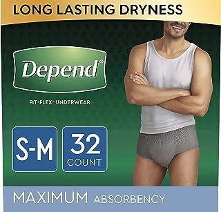 Depend FIT-FLEX Incontinence Underwear for Men, Maximum Absorbency, Disposable, S/M,..