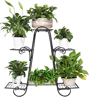 unho 6 Tier Wrought Iron Plant Stand Display Shelf Indoor Outdoor Plant Flower Stand Home Garden Decor, Black
