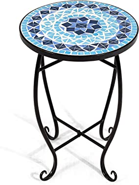 RELAX4LIFE Side Table Outdoor Mosaic Round 14 Inch W/Glass Table Top and Steel Fram for Patio, Lawn, Garden, Balcony and Home Décore Small End Table (Blue)