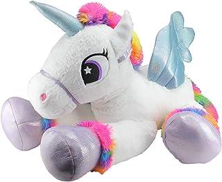 "Northlight 42"" Super Soft and Plush White Sitting Winged Unicorn with Rainbow Mane Stuffed Figure"