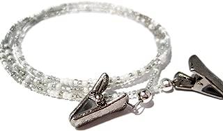 Eyeglass Chain - Beaded White and Silver Clip - Eyeglass Holder - Glasses Strap - Sunglasses Lanyard