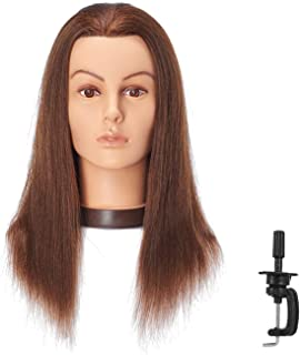 Hairlink 20-22'' Mannequin Head With Human Hair Styling Training Head Dolls for Cosmetology Manikin Maniquins Practice Head with Stand (9926LB0414H)
