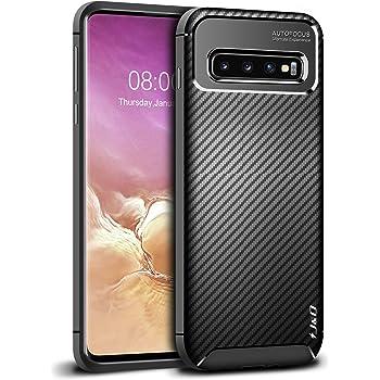 J&D Compatible para Samsung Galaxy S10+/S10 Plus Funda, [Fibra Carbono] [Parachoques Ligero] Resistente Funda TPU Protectora e Anti-Scratch Blando Funda para S10+ S10 Plus Case - No para S10/S10e