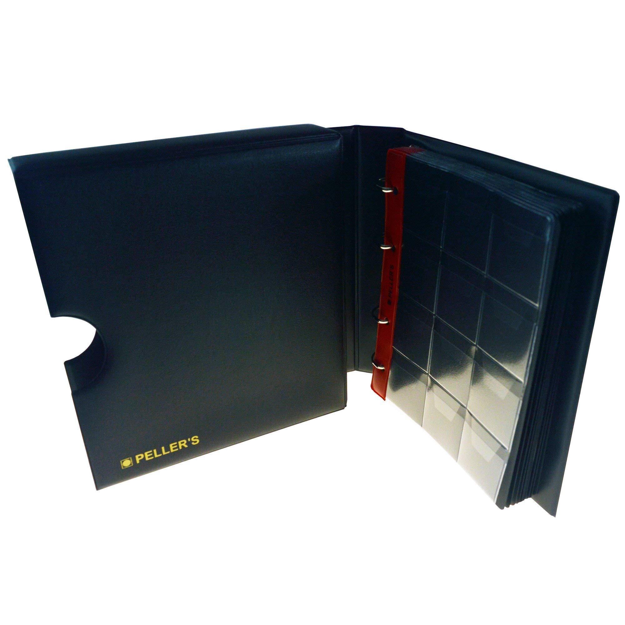 PELLERS AM120C Álbum de colección 120 Grandes de hasta 40mm de diámetro, 10 Fundas y cartulinas separadoras. para Monedas turísticas, Geocoins, Fichas etc, Negro, Modelo M con Cajetin: Amazon.es: Hogar