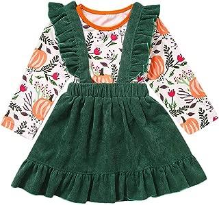 Swyss Pumpkin Print Suspender Skirt 2 Piece Outfit, Girls Toddler Fall Winter Halloween Thanksgiving Dress Up Boutique Outfit