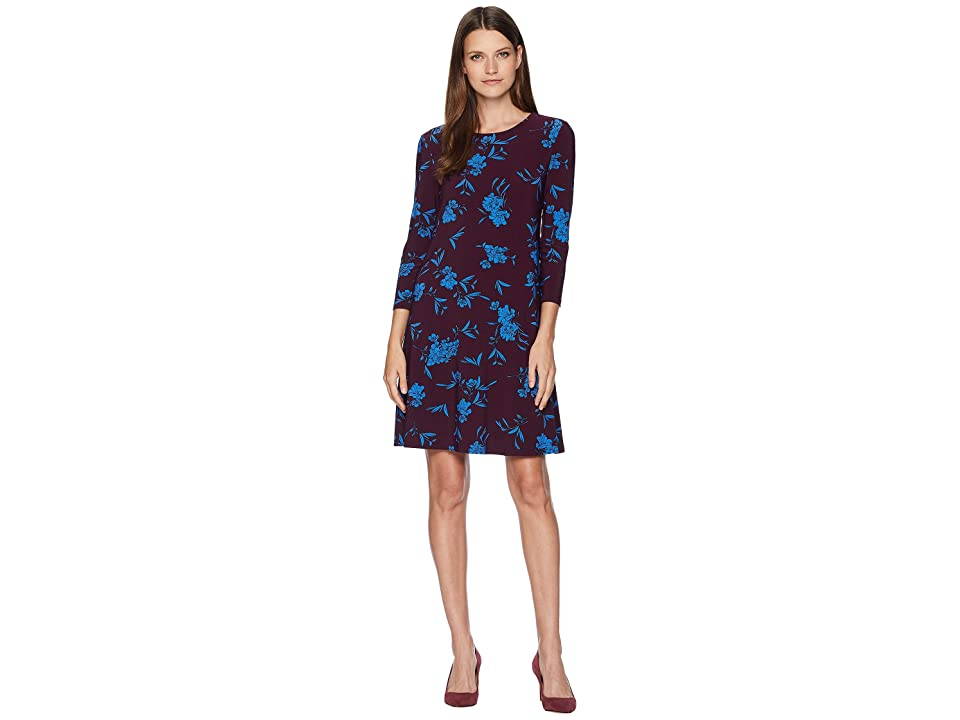 LAUREN Ralph Lauren Abbi Almonte Floral 3/4 Sleeve Day Dress (Passion Plum/Riverside Blue) Women