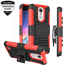 LG Aristo/LG Rebel 2 LTE/Rebel 3 LTE/Phoenix 3/Fortune/Risio 2/K8 2017 Phone Case w/Tempered Glass Screen Protector,Heavy Duty Shockproof Protective Case w/Kickstand Belt Clip for Men/Women/Boy,PC Red