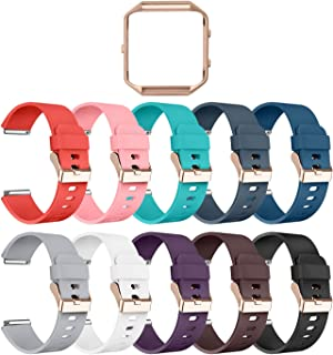 LEEFOX Compatible Fitbit Blaze Bands with Frame,  Sport Silicone Replacement Strap for Fitbit Blaze Smart Fitness Watch Accessory Wristbands Large, 10Pack w/Rose Gold Frame Men Women