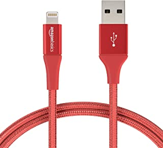 AmazonBasics Double Braided Nylon Lightning to USB A Cable, Advanced Collection - MFi Certified iPhone Charger - Red, 3-Foot