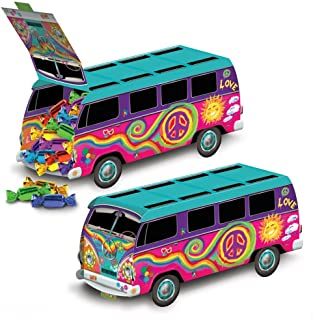 1 Groovy Retro 60s Party Decoration HIPPIE Tie Dye LOVE PEACE BUS CENTERPIECE