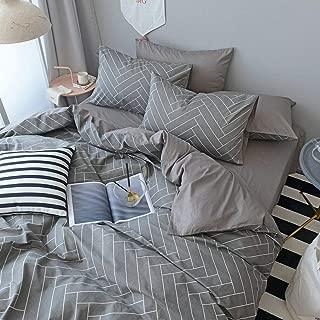 Chevron Striped Cotton Duvet Cover Set Queen Modern Grey Geometric Bedding Set 3 Piece Luxury Hotel Duvet Comforter Cover Set 1 Duvet Cover with 2 Pillowcases Reversible Full Queen Bed Set