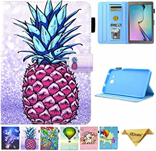 Samsung Galaxy Tab A 7.0 Case, SM-T280 Case, JZCreater PU Leather Folio Stand Case, Multi-Angle Viewing Wallet Case Cover for Galaxy Tab A 7.0 Tablet 2016(SM-T280/T285), Purple Pineapple