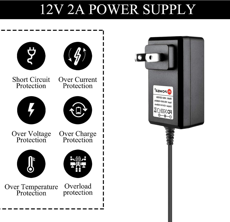 PKPOWER 12V 2A Power AC Adapter 5.5mm X 2.5mm Plug 6.6 Feet Extra Long Cord (Input 100V - 240V, Output 12 Volt 2 Amp)