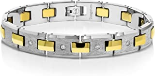 Men's Diamond Tungsten Bracelet with Shiny Gold Plated Connector Links