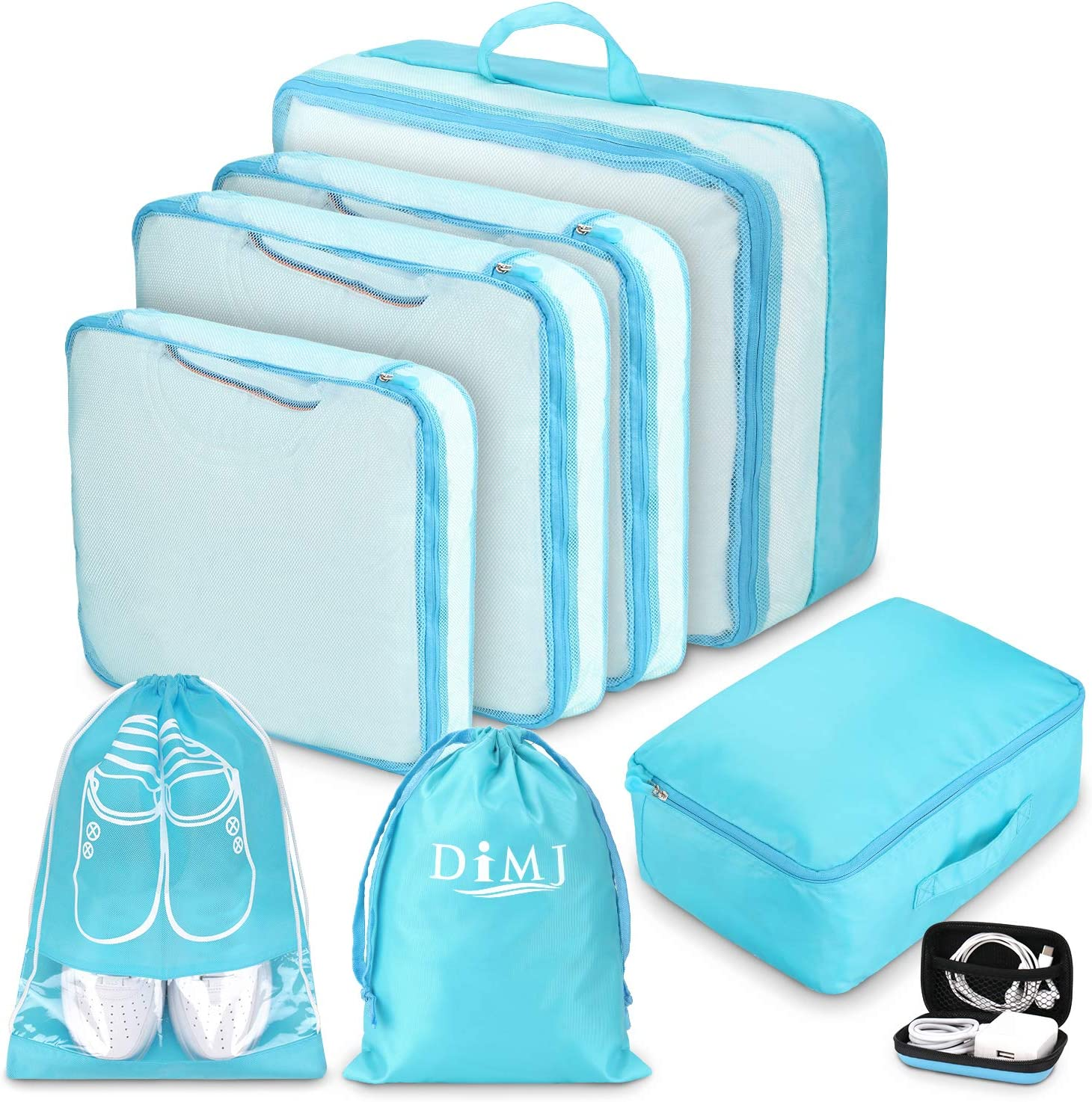 Packing Cubes for Travel, 8Pcs Travel Cubes Set Foldable Suitcase Organizer Lightweight Luggage Storage Bag (Blue) : Clothing, Shoes & Jewelry