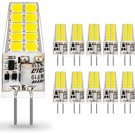 Bombillas G4 LED 12V, Auting 3.5W 20 * 2835 Equivalente a la Lámpara Halógena de 30W, No Regulable,400LM,Blanco frío 6000K,Ángulo de haz de 360°-10 Piezas
