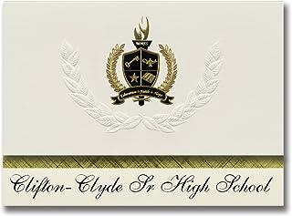 Signature Ankündigungen clifton-clyde SR High School (Clyde, KS) Graduation Ankündigungen, Presidential Stil, Elite Paket 25 Stück mit Gold & Schwarz Metallic Folie Dichtung B078TSW1HX  Modebewegung