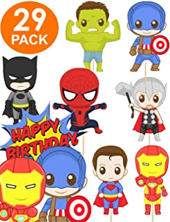 Super Cute Superhero Party Supplies + FREE Superhero Cake Topper - Superhero Birthday Party Supplies - Superhero Cupcake Toppers for Superhero Party for Marvel Party Supplies - Superhero Decoration