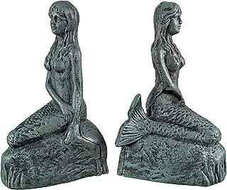 Private Label Cast Iron Mermaid Bookends Verdigris Finish