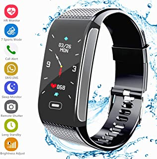 Fitness Tracker Activity Smart Bracelet Wristband Watch with Pedometer Heart Rate Monitor Step Calorie Tracker IP67 Waterproof Call SMS SNS Remind for Men Women Kids Compatible with Android iOS