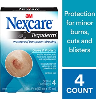 Nexcare Tegaderm Waterproof Transparent Dressing, Dirtproof, Germproof, 2-3/8 Inches X 2-3/4 Inches, 4 Count