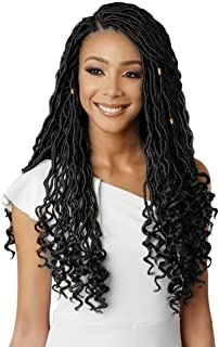 Eerya 6Packs Goddess Faux Locs Crochet Hair Braids Wavy with Curly Ends Synthetic Hair Extensions Fauxlocs Fiber Braiding Hair Afro Kinky Soft Dread Dreadlocks (18Inch Natural Black #1B)