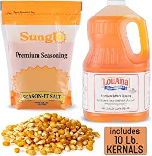 Popcorn Supplies Includes Popcorn Kernels - Yellow (10 Lb.), Popcorn Seasoning – Salt (35 Oz.), And Popcorn Butter Flavored Oil (1 Gallon), Great for you Popcorn Machine and Popcorn Popper.
