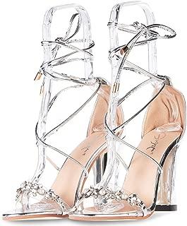 JSUN7 Women's Fashion Chunky High Heel Sandal Pump Shoe
