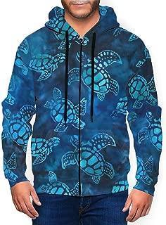 Men's Comfortable Hooded Sweatshirts, Polyester Turtle Tie Dye Batik Hoodie Pullover Hooded Sweatshirts with Zipper