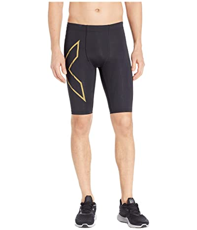 2XU MCS Run Compression Shorts (Black/Gold Reflective) Men