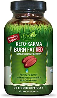 Irwin Naturals Keto-Karma Burn Fat RED - Powerful Fat Burner with Nitric Oxide Booster, MCT Oil, Spirulina, Yerba Mate & G...