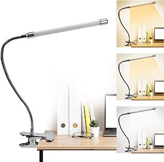 Lampada da Scrivania LED, lampada da tavolo 9 Livelli di Luminosità Luce Libro con Pinza, Lampada da Lettura USB Collo di ...