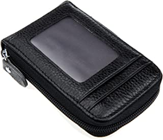 Genuine Leather Mini Credit Card Case Organizer Compact Wallet with ID Window