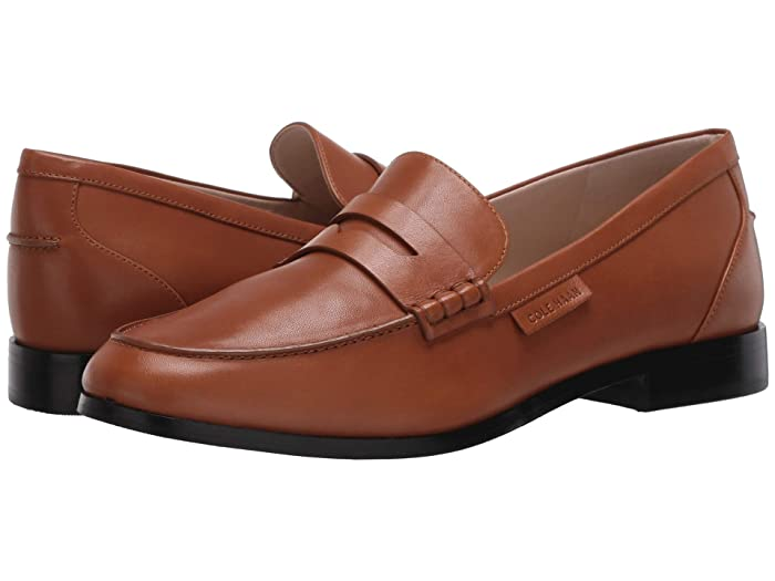 Cole Haan  Mckenna Penny Loafer (British Tan Burnished Leather Natural Stitch/Brown) Womens Slip on  Shoes