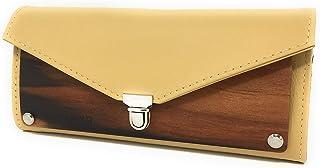 EMBAWO borsellino donna LALLO in vera pelle italiana colore senape e vero legno melo indiano - borsa portafoglio fatto a m...