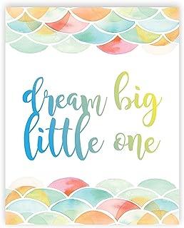 Dream Big Little One 05x07 Inch Print, Mermaid Pattern, Gender Neutral Baby Girl Nursery Decor Nursery Print Baby Dream Big Little One First Watercolor Baby Girl Room Art