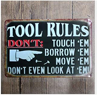INNAPER Tool Rules Sign Vintage Tin Painting Decoration Bar Sign Signs for Garage Bar Restaurant Home BBQ Shop Nostalgic Wall Industrial Wind Creative Decoration Sign 12x16