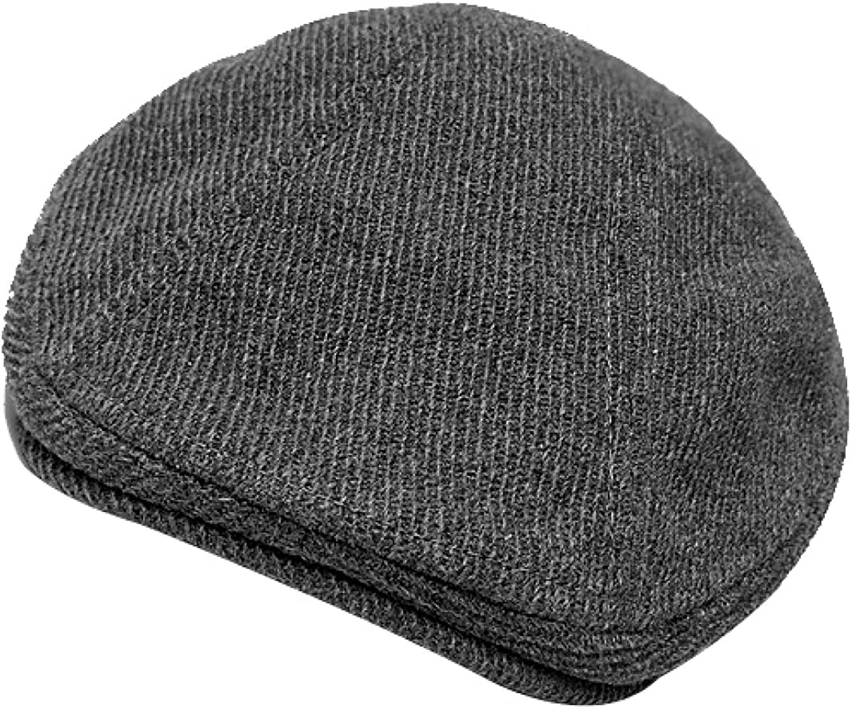 Middle-Aged Men's Newsboy Hat Black Diagonal Stripes Beret Autumn and Winter England Retro Flat Top Cap