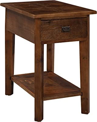 Renew Reclaimed Wood Chair Side Table with 1 Drawer and Open Shelf, Natural