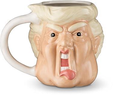 Decodyne Donald Funny Novelty Mug - 18 Oz - Hand Painted Donald Trump Face Shape Ceramic Coffee Mug