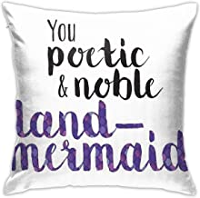 KIILA Poetic and Noble Land-Mermaid Home Decorative Throw Pillow Cases Sofa Couch Cushion Throw Pillow Covers 18x18 Inch